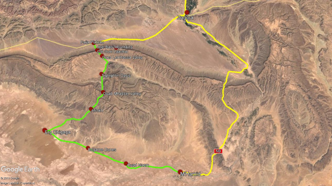 Camel Trekking - Zagora M'Hammid (yellow - car, green - trekking)
