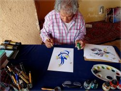 Museum Sources Lala Mimoun: the calligrapher Zaid Abbou painting beautiful letters