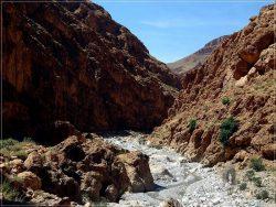 Todra Valley: red cliffs and a weak stream