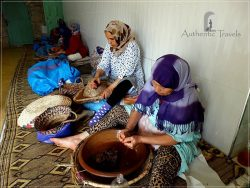 On the way from Marrakesh to Essaouira - the process of extracting argan oil