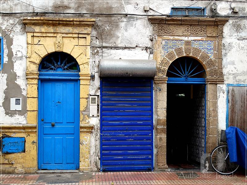 The old medina in Essaouira: blue, doors, and shutters