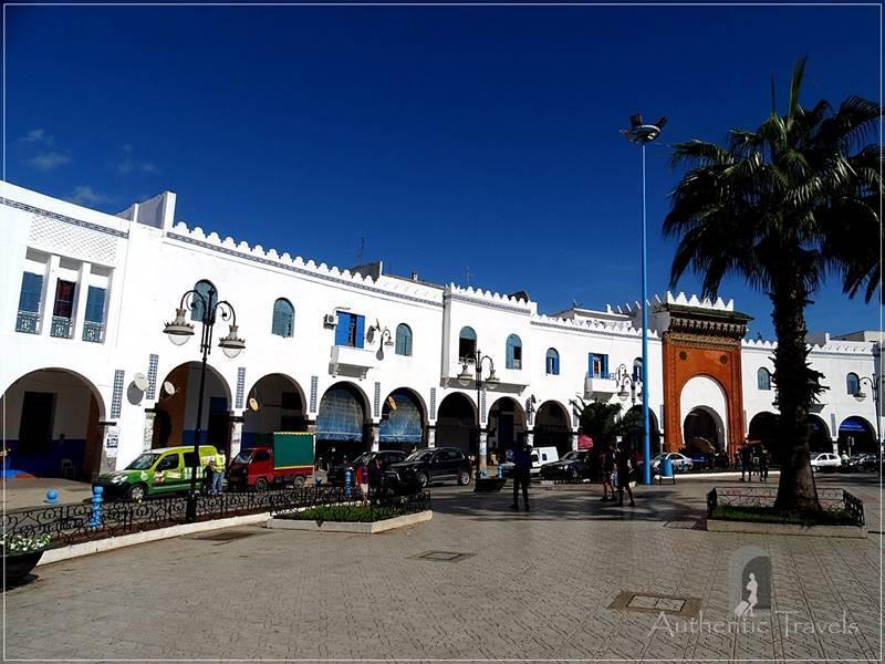 Larache: Place de la Liberation with Bab al Khemis - the main entrance gate to the medina