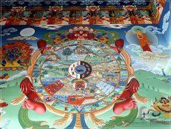 Bodhnath heritage area (around Kathmandu) - Pal Dilyak Gompa - colorful paintings