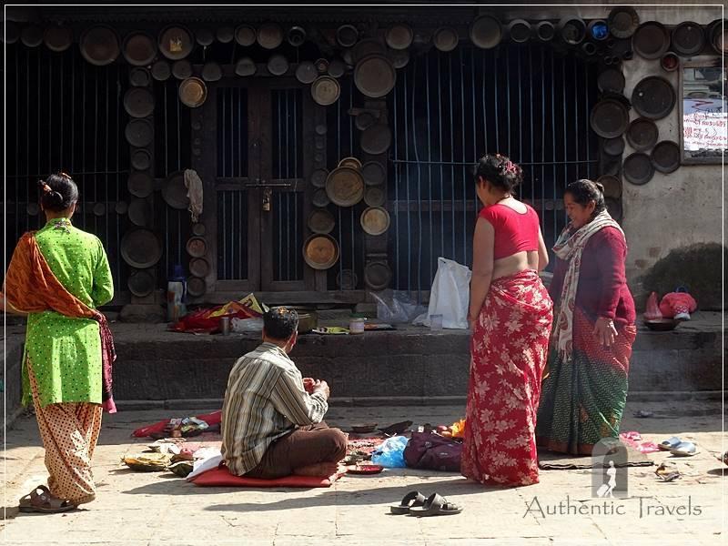 Kathmandu Valley: Chobar - Nepalis in the courtyard of Adinath Lokeshwar Temple