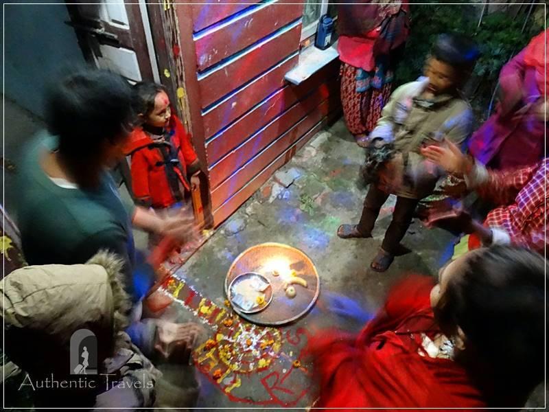 Kathmandu Valley: Bashgari - bhailo dance around the rangoli