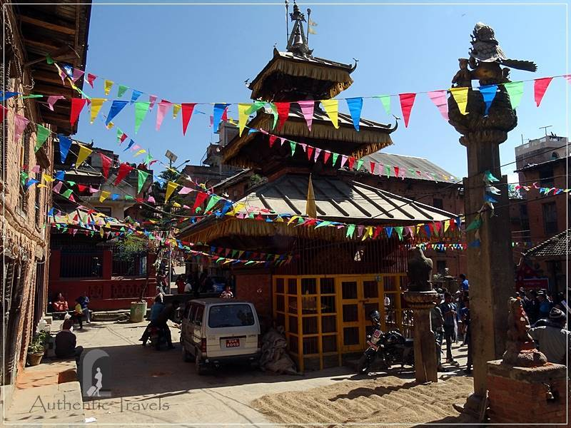 Kathmandu Valley: Dhulikel - the main square decorated for the Festival of Lights