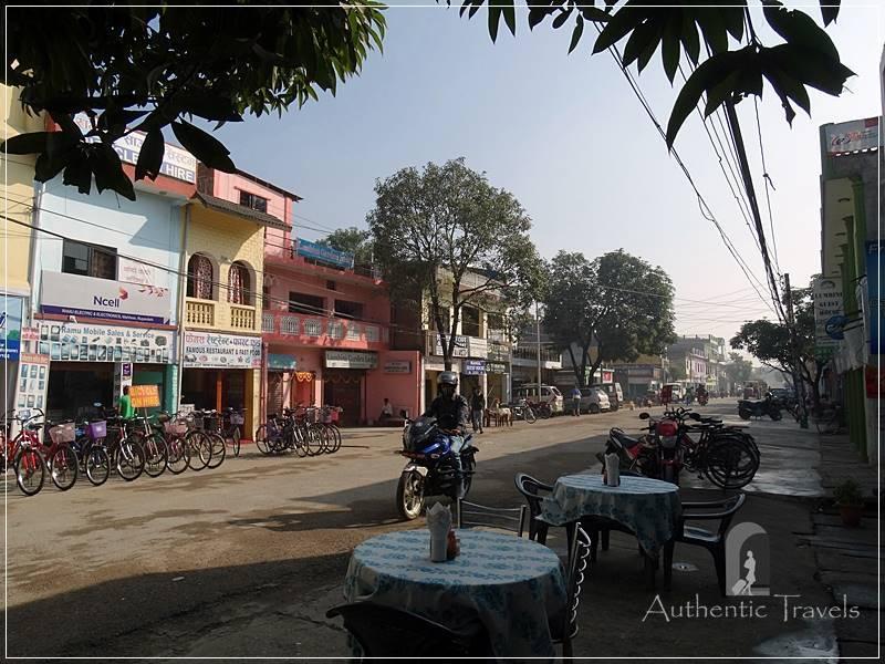 Lumbini: lunch at Three Vision Restaurant, on the main street of the bazaar