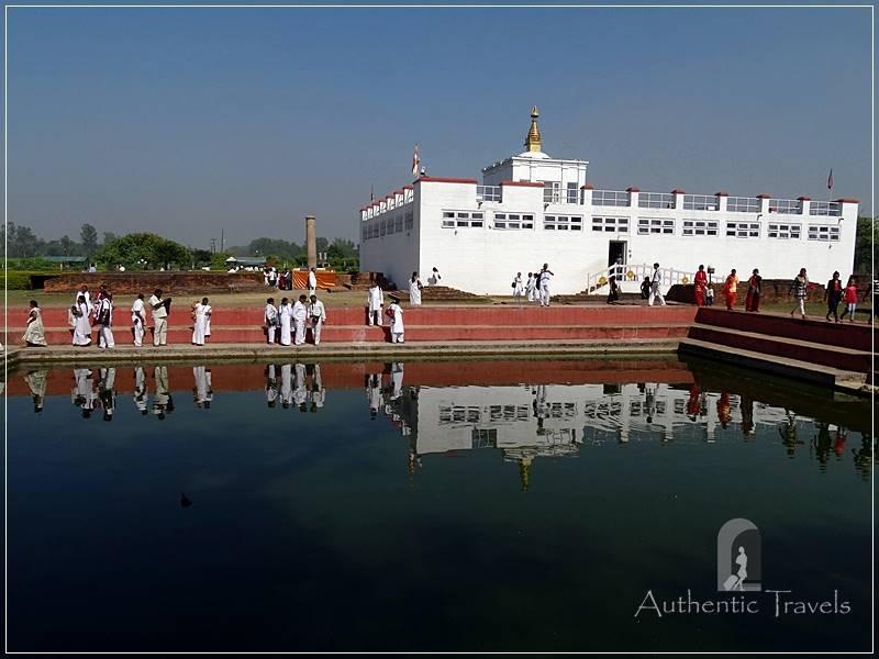 Lumbini: Maha Devi Temple with the Sacred Pond. Maya Devi bathed here before giving birth to the Buddha