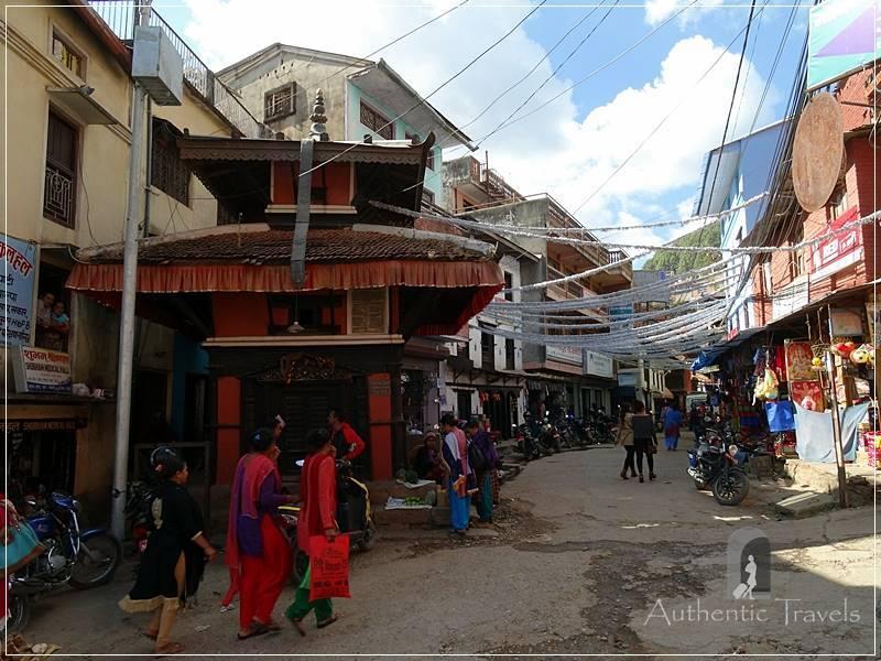 Tansen: Bhimsen Mandir Temple at the beginning of a decorated street