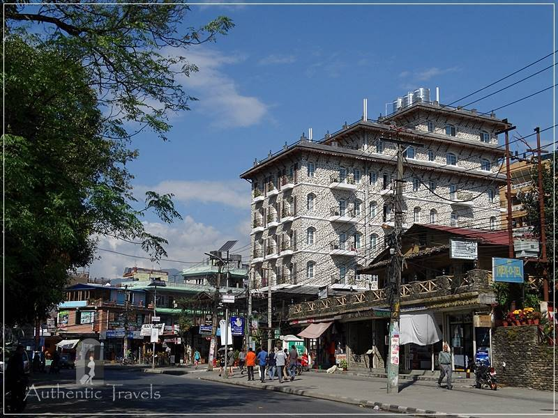 The main street in Pokhara Lakeside