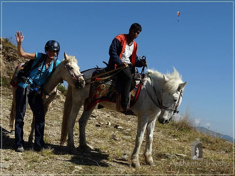 Pokhara - Going down from Sarangkot: with our ponies