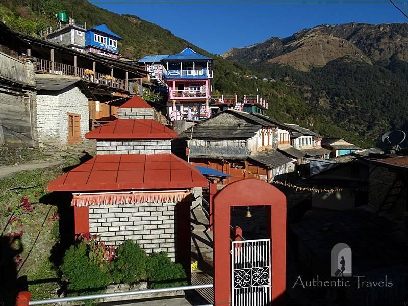 Ghorepani Trek: Ulleri - small Buddhist temple on the main 'street'