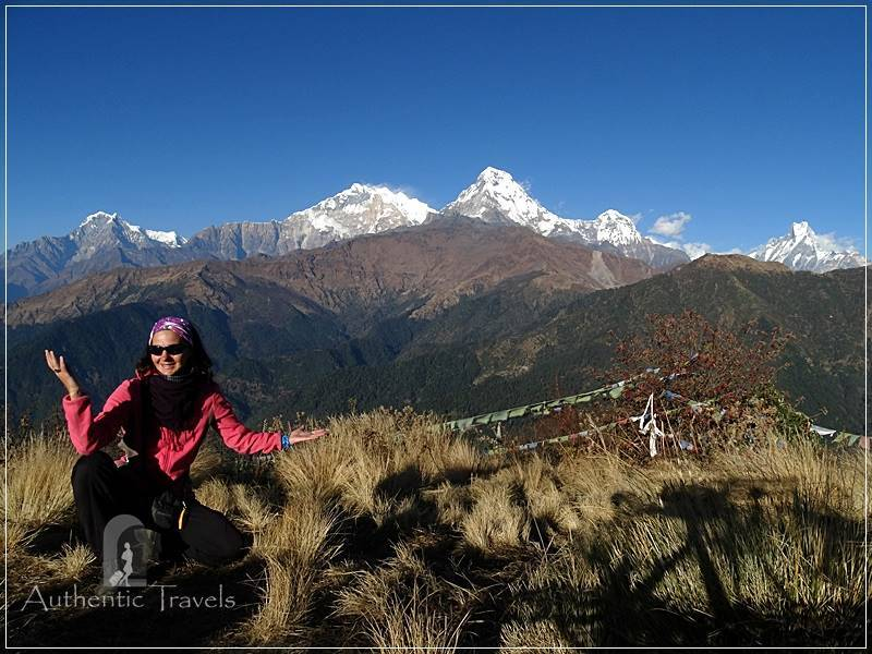 Ghorepani Trek: Poon Hill - views with the Annapurna Himalayan Range (the background peak on the left is Annapurna I - over 8000 m alt.)