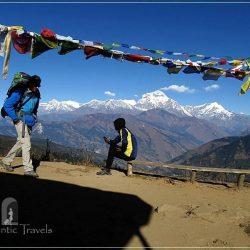 Ghorepani Trek: going up from Ghorepani to Deurali Pass (the Dhaulagiri Himalayan Range in the background)