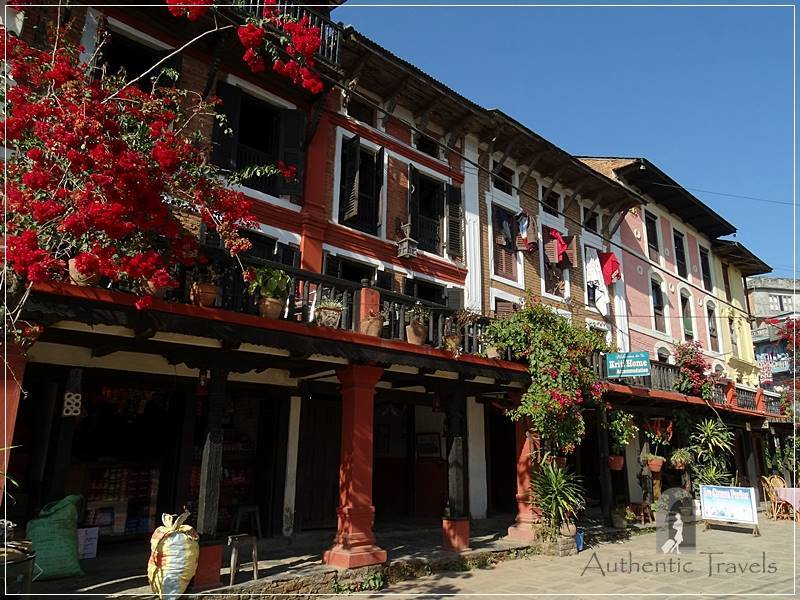 Bandipur Old Town: the main tourist street with wood houses