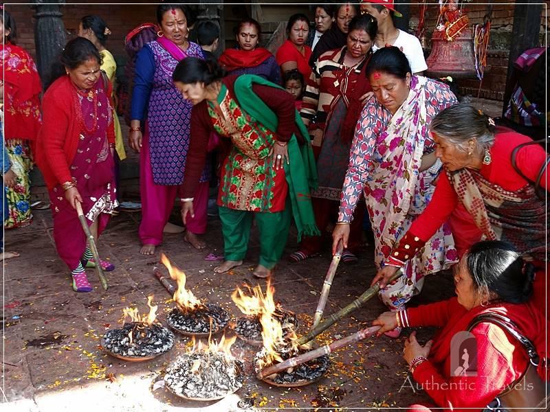 Gorkha: religious ceremony at Gorkha Durbar