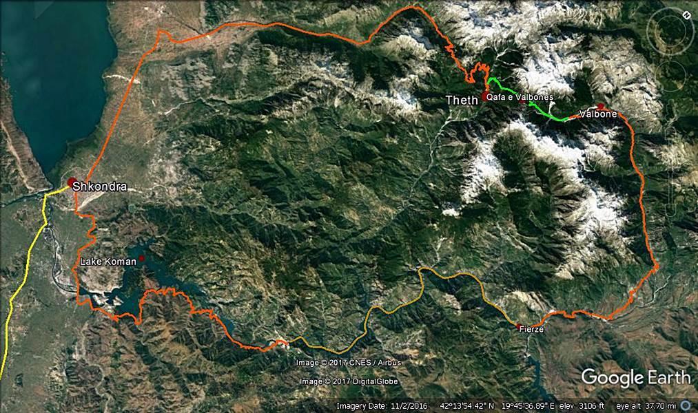 Balkan Countries Travel Planning 2017 - Komani Lake Ferry and Valbona to Theth Trekking (4 days) - Legend: orange - car/furgon, brown - ferryboat, green - trekking