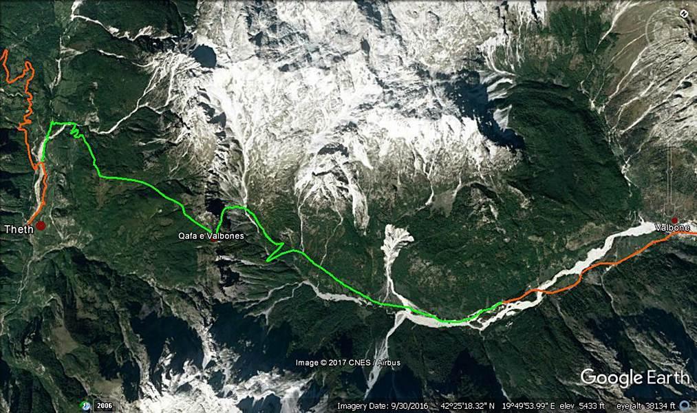 Balkan Countries Travel Planning 2017 - Valbona to Theth Trekking (1 day) - Legend: orange - car/furgon, green - trekking