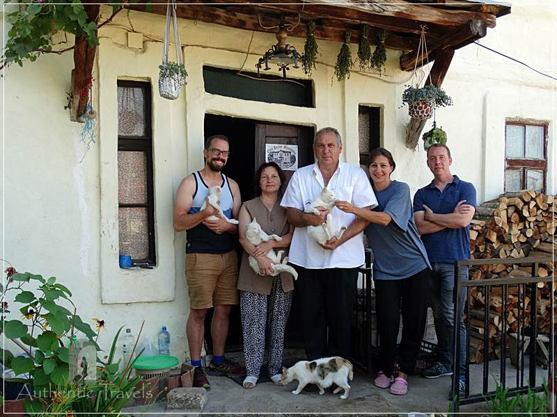 Etno House Shancheva - with Stevce and Valentina Donevski, Dave and Sebastian from Canada, and the cats in front of the guesthouse (August 2017)
