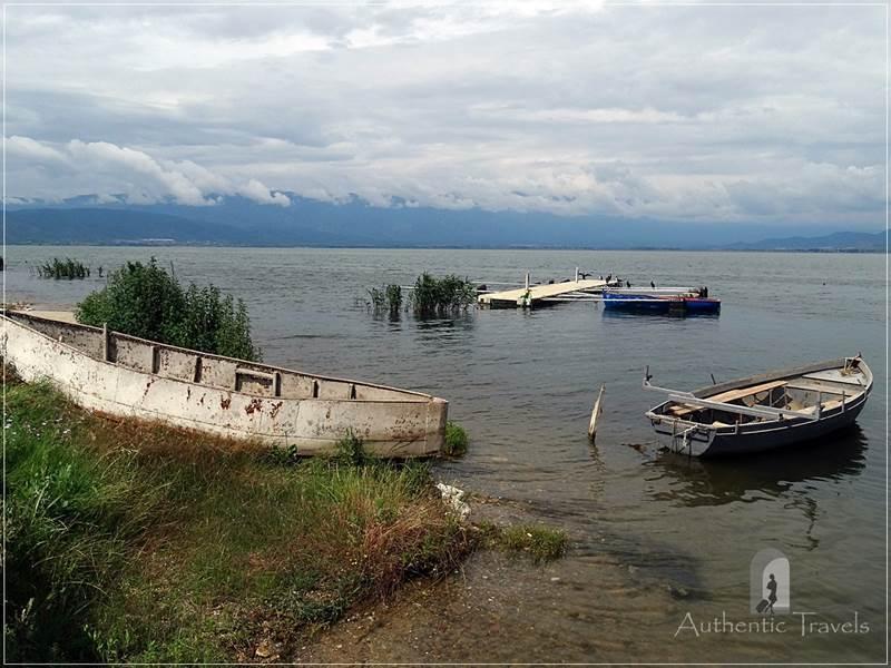 Lake Dojran, at the border between Macedonia and Greece