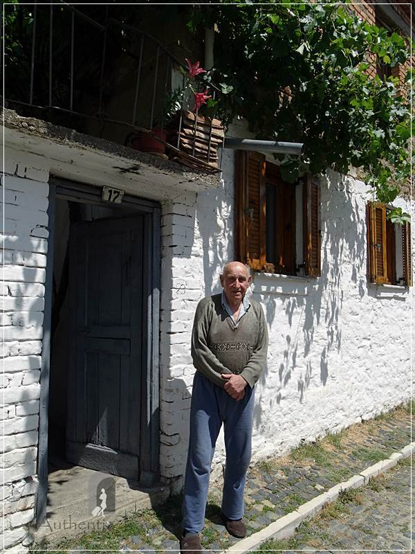 Korce - Ilija in front of his house in the old part of the town