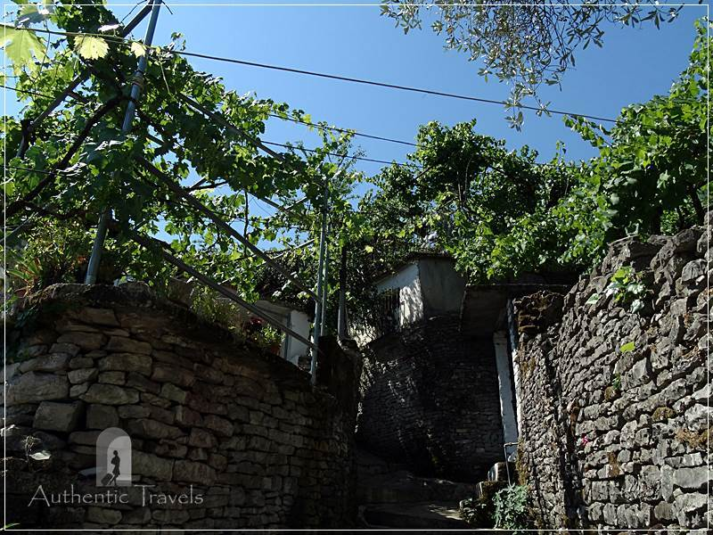 Gjirokastrar - steep alleys with stone steps, green vines, and stone walls