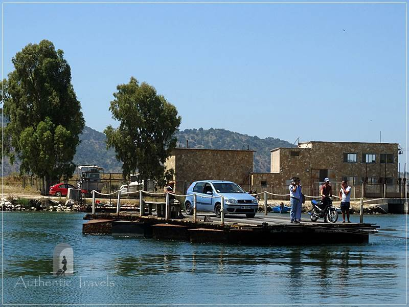 Butrint - the cable bridge that takes cars and people from one side of the Vivari Canal to the other side.