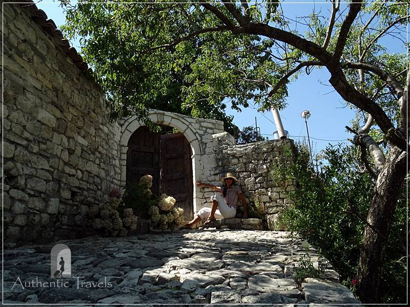 Berat Castle - typical cobblestone alley
