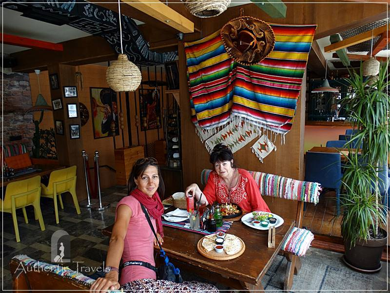 Pristina - lunch with Julie from Australia at a Mexican Restaurant