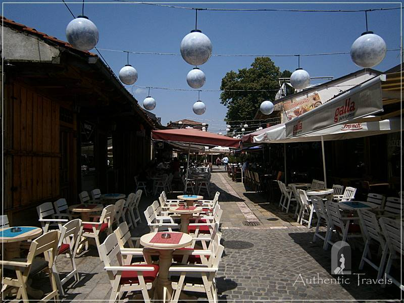 Near Rugova Valley: the town of Gjakova with the main pedestrian street with pavement cafes