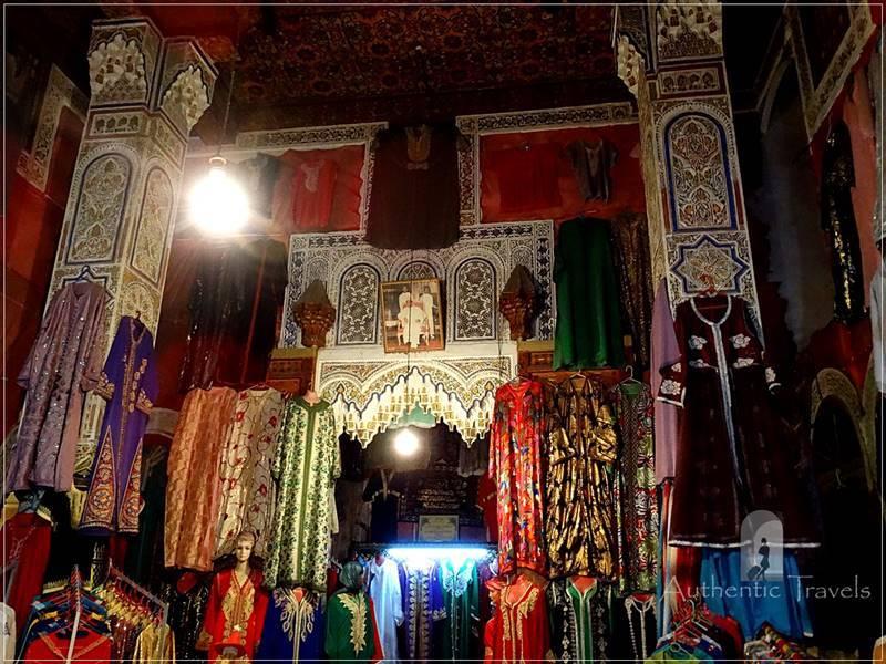 Fes old medina: Kaftan Shop refurbished in a dar