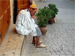 Fes old medina: a thinking man