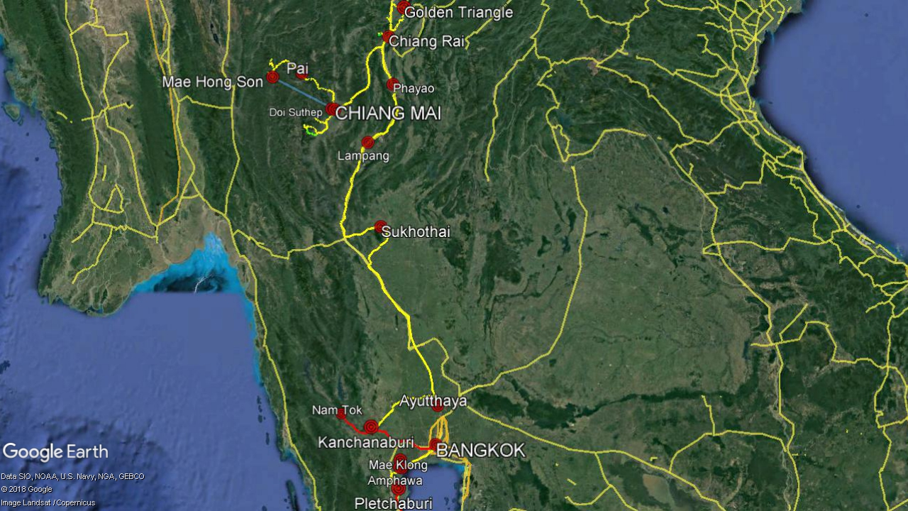 North of Thailand Travel Planning 2019 - Legend: yellow - car, red - train, green - trekking, blue - airplane