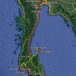South of Thailand Travel Planning 2019 - Legend: yellow - car, orange - boat / ferry, red - train