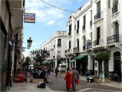 Tetouan: the Ensanche - av. Mohammed V (white Spanish colonial architecture with art-deco elements)
