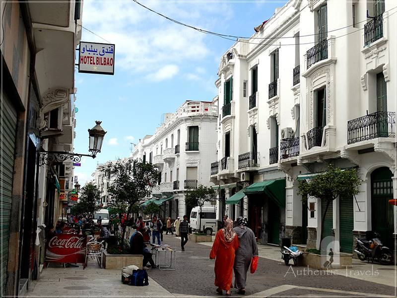 Tetouan: the Ensanche - av. Mohammed V (white Spanish colonial architecture with art-deco elements)