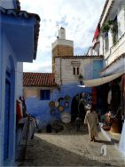Chefchaouen: the main street going to the river Oued Ras el-Maa
