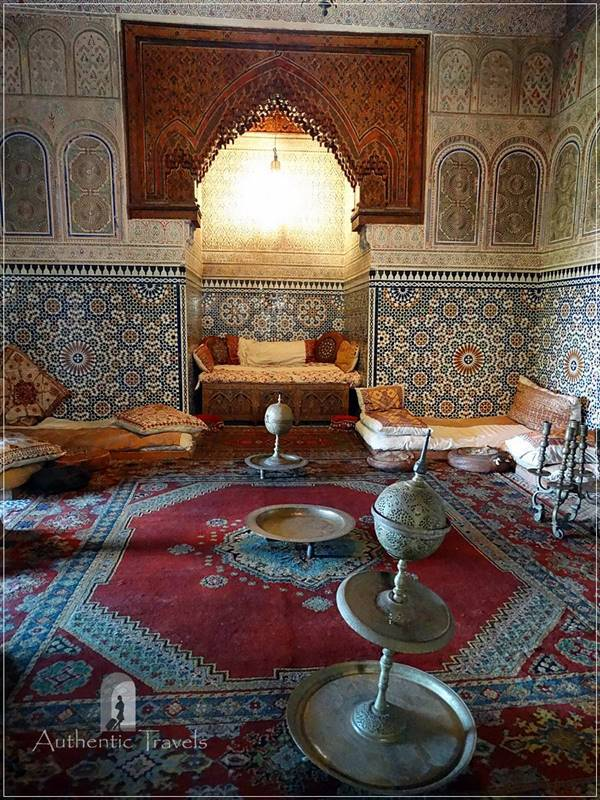 Meknes: Dar Jamai Museum - the traditional salon for the harem (kouba)