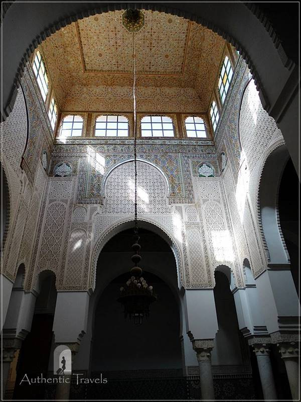 Meknes: Mausoleum of Moulay Ismail - the inner patio with decorations all over